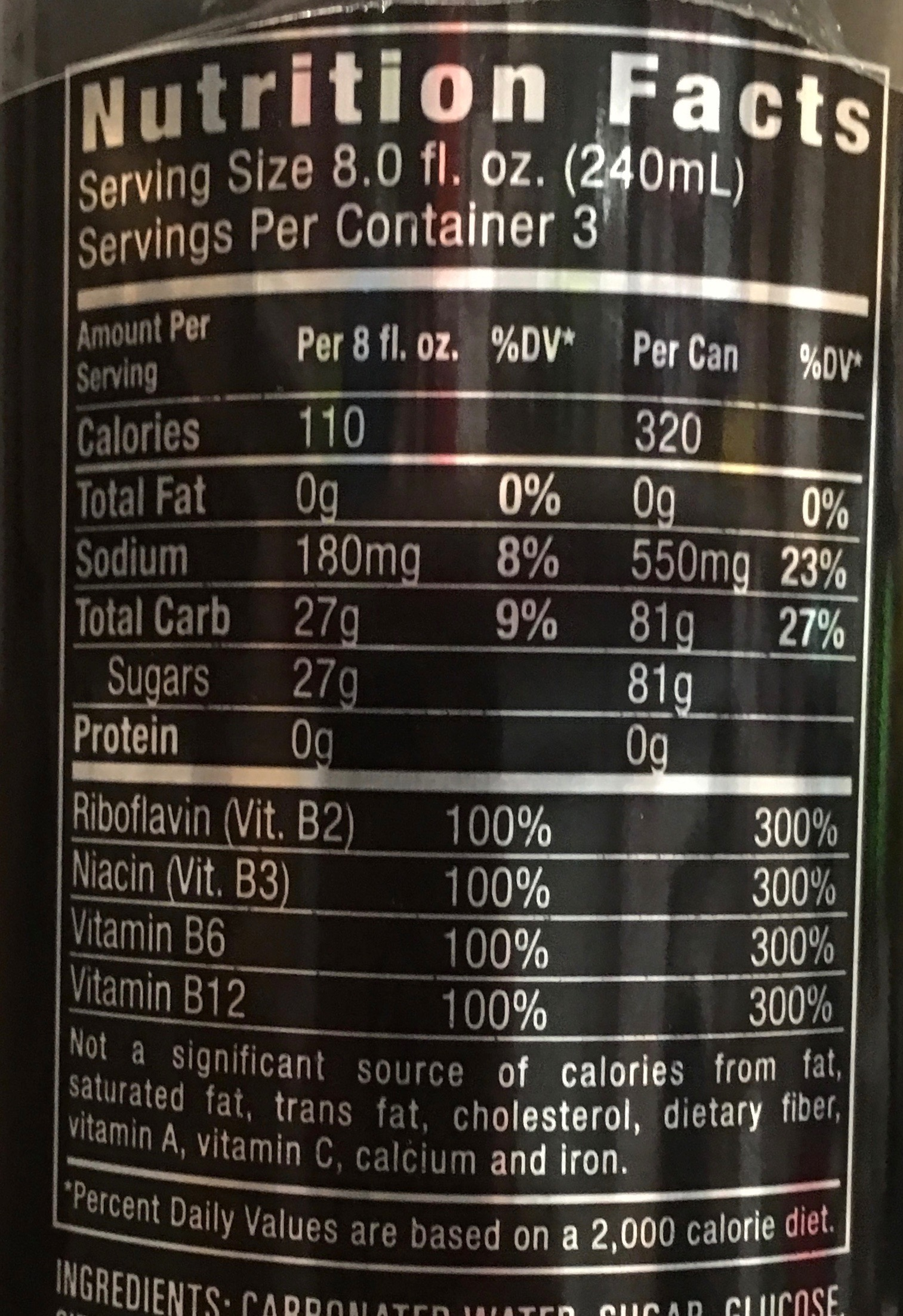 Monster Rehab Energy Drink Nutrition Facts