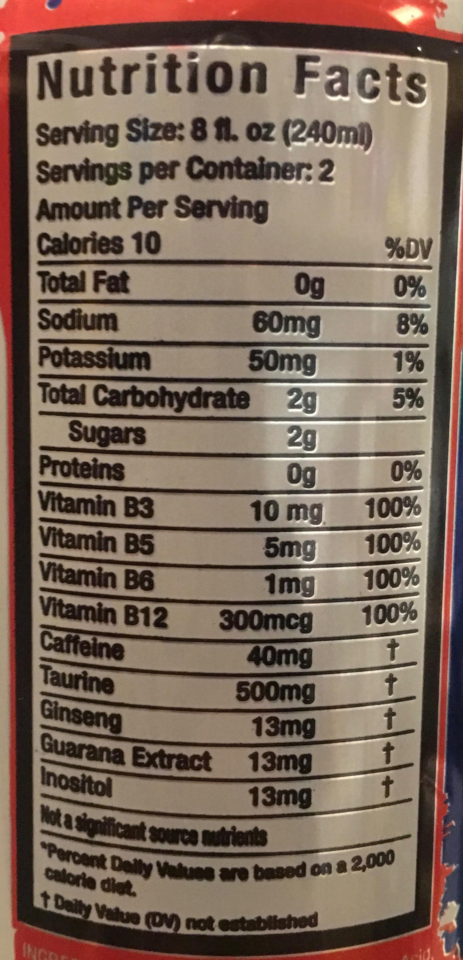 redline energy drink ingredients